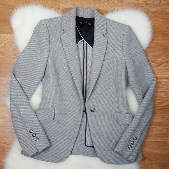 a35072bb Zara Jackets & Coats   Woman Small Light Gray Fitted Jacket   Poshmark